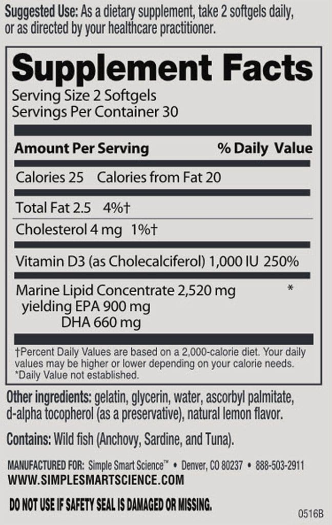 Alpha Omega-3 DHA Fact Panel